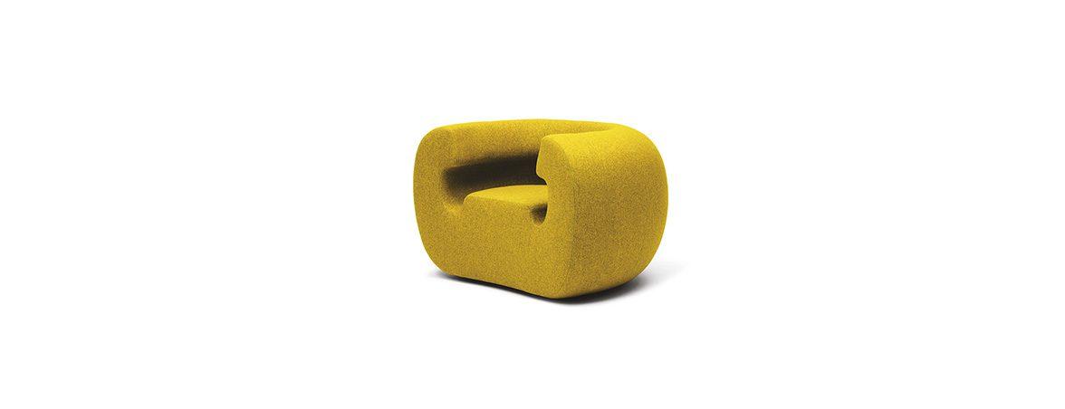 Sofá individual Roxanne tapicería amarillo | Muebles de oficina Spacio