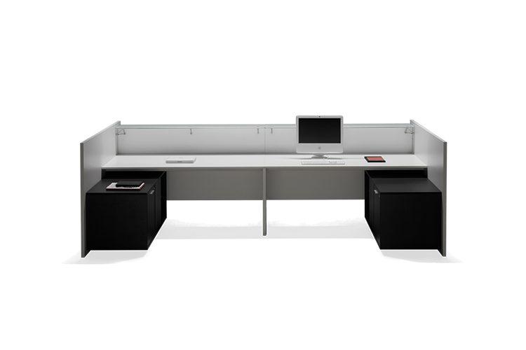 Mostrador de recepción F25-V30 listado | Muebles de oficina Spacio