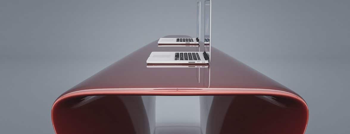Mostradores de recepción rojo lat | Muebles de oficina Spacio