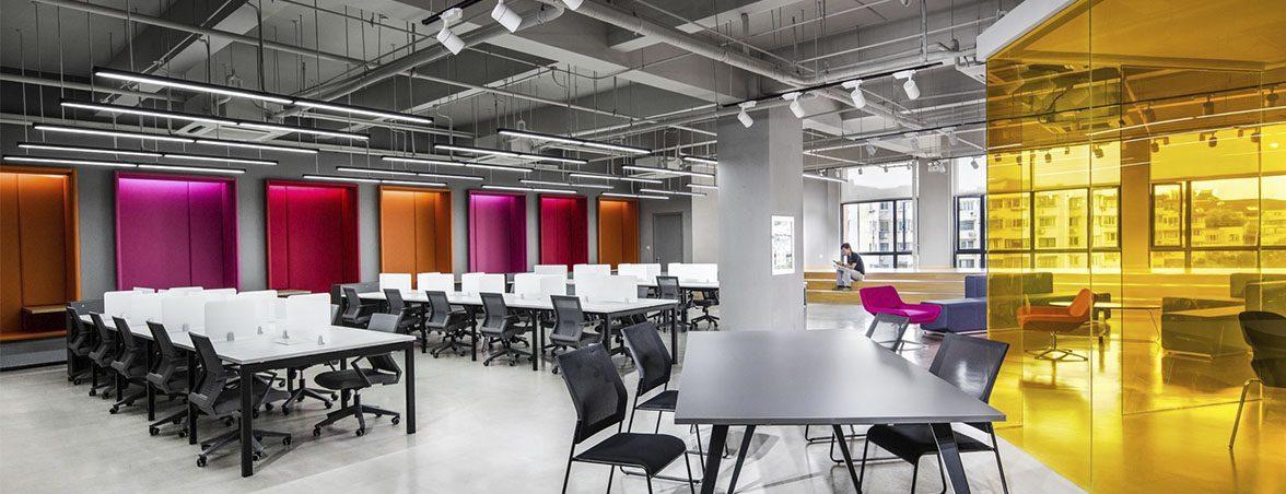Oficina química mamparas colores | Muebles de oficina Spacio