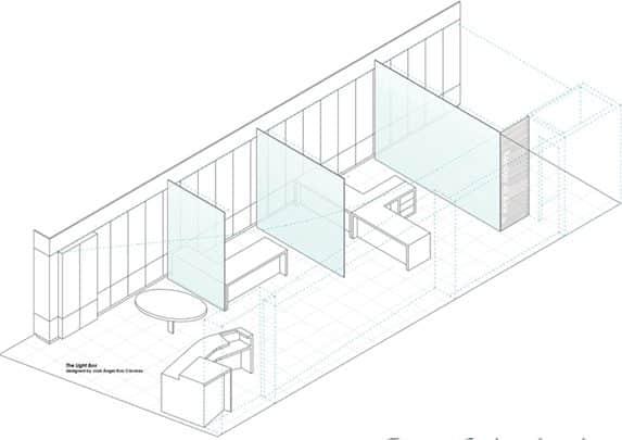 Oficinas caja de luz plano | Muebles de oficina Spacio