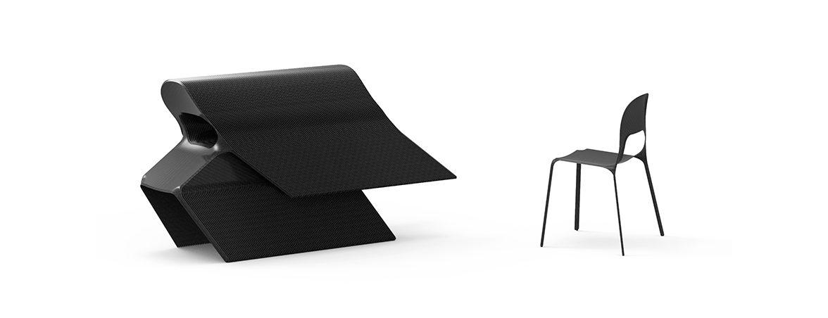 Silla carbono Mars apilada estructura | Muebles de oficina Spacio