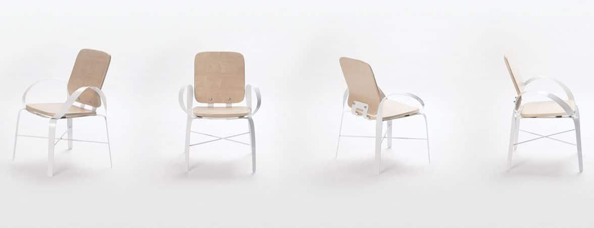 Silla con brazos curvados perfil frontal | Muebles de oficina Spacio