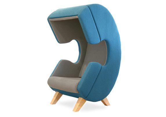 Silla para hablar por teléfono azul y gris | Muebles de oficina Spacio