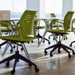 Sillas de estudio Spacio verdes con ruedas y brazos | Muebles de oficina Spacio