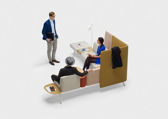 Sillas de oficina modulares con biombo | Muebles de oficina Spacio