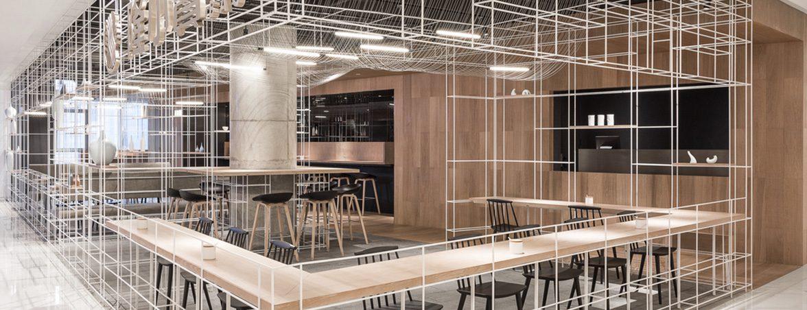 Taburetes para restaurante vista trasera | Muebles de oficina Spacio