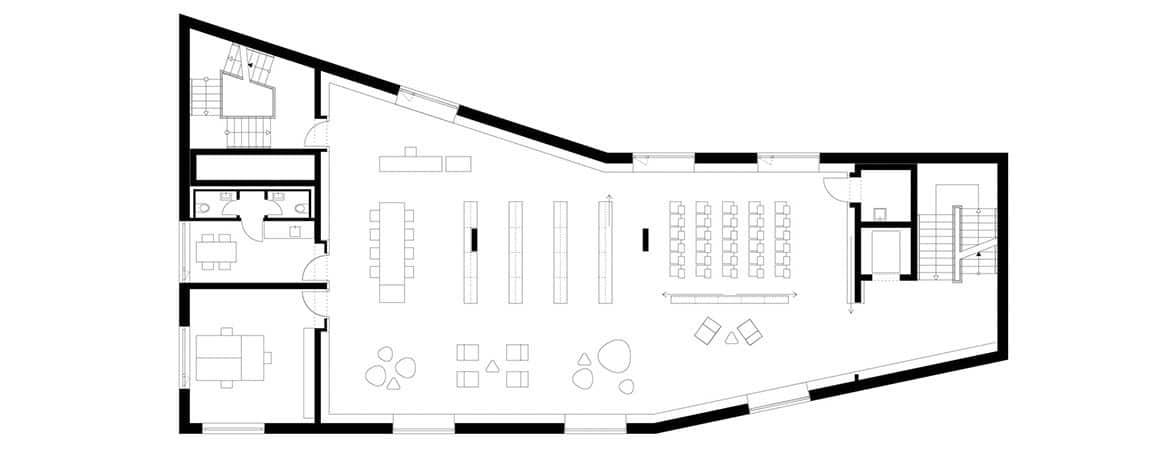Plano planta biblioteca Rotteburg | Muebles de oficina Spacio